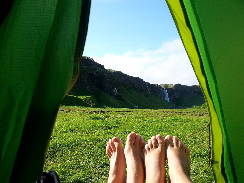 Acampamento em Seljalandsfoss, Islândia