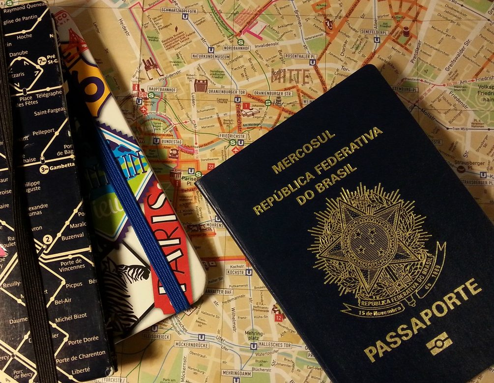passaporte brasileiro no mapa